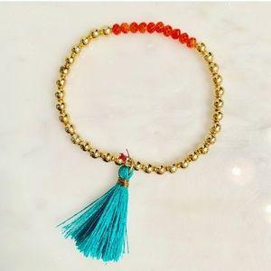 Jewelry - Gold Beaded Tassel Bracelet